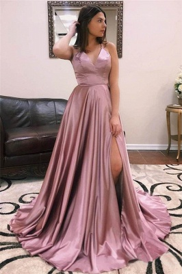 Charmeuse Halter Lace-Up Prom Dresses | Side slit Sleeveless Evening Dresses_1