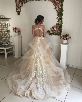 Sexy Applique TieGorgeous  Sheer Wedding Dresses | Spaghetti-Strap Sleeveless Backless Floral Bridal Gowns_3