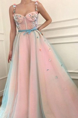 Glamorous Flower Bowknot Spaghetti-Strap  Prom Dresses | Ribbons Sheer Sleeveless Evening Dresses with Beads_1