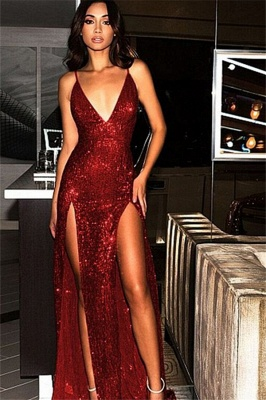 Spaghetti Strap Open Back Prom Dresses Sleeveless Side Slit Sexy Evening Dresses_3
