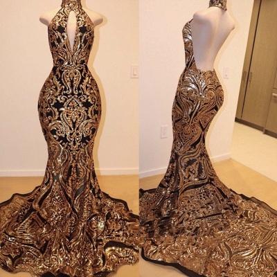 Halter Keyhole Neckline Sequins Appliqued Trumpet Prom Dresses | Suzhou UK Online Shop_2