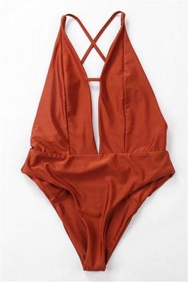 Keyhole Sexy V-Neck Criss-cross High Waist Swimsuits_7
