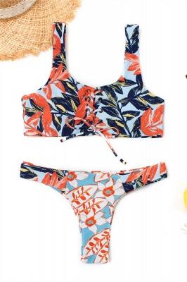 High Waist Lace-up Straps Flower Prints Bikinis_1