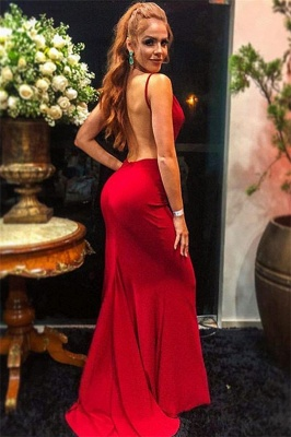 Sexy Wine Red Spaghetti-Straps Trendy Backless Trumpet Prom Dress | Suzhou UK Online Shop_2