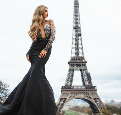 Glamour Black Sheer-Quality Tulle Appliques Sleeved Trumpet Prom Dress | Suzhou UK Online Shop_4