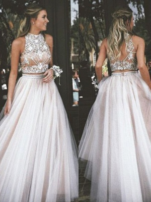 High Neck Two Pieces Prom Dresses Sleeveless Open back Crystal Sexy Evening Gowns_2
