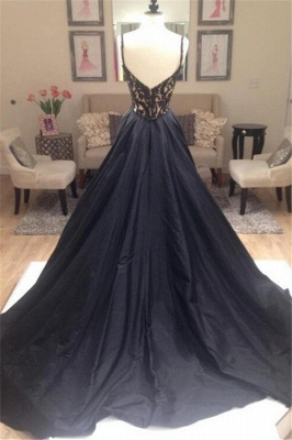Black Lace V-Neck Sleeveless Prom Dresses | Open Back Evening Dresses with Beads_8