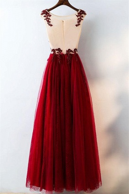 Lace Appliques Jewel Prom Dresses | Tulle Sleeveless Evening Dresses with Beads_3