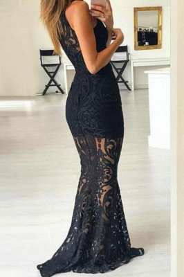 Lace Halter Lace Appliques Prom Dresses | Sexy Mermaid Sleeveless Evening Dresses_2