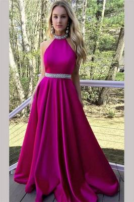 Crystal Halter Prom Dresses | Ribbon Sleeveless Evening Dresses_1