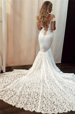 Sexy Lace Off-the-Shoulder Wedding Dresses | Mermaid Sleeveless Floral Bridal Gowns_2