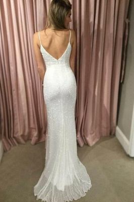 Glamorous Sequin Straps Lace Appliques Prom Dresses   Tulle Sexy Mermaid Sleeveless Evening Dresses_3