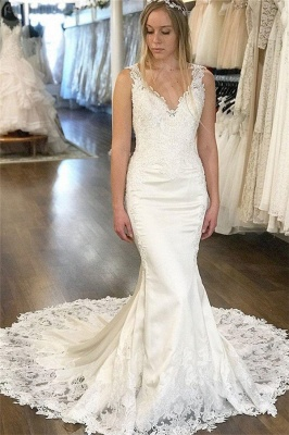 Gorgeous V-Neck Appliques Wedding Dresses | Sleeveless Backless Mermaid Floral Bridal Gowns