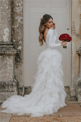 Gorgeous Applique Wedding Dresses | Side slit Mermaid Sleeveless Floral Bridal Gowns_3