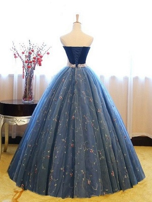 Sweetheart Lace Flower Crystal Prom Dresses Sleeveless Ball Gown Sexy Evening Dresses with Beads_3