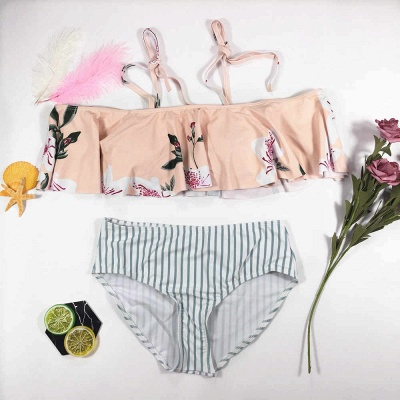 Pink Printed Two Piece Swimsuit  | Sexy Bikini for Summer Beach Online_7