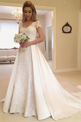 Sexy Applique Cap Straps Wedding Dresses | Overskirt Jewel Floral Bridal Gowns_1