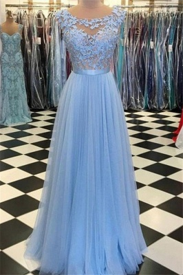 Glamorous Jewel Applique Prom Dresses Sleeveless Tulle Sexy Evening Dresses with Belt_1
