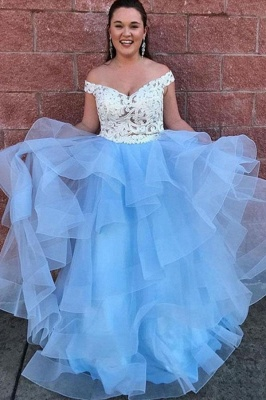 Glamorous Lace Appliques Off-the-Shoulder Prom Dresses | Two Piece Sheer Sleeveless Evening Dresses_2