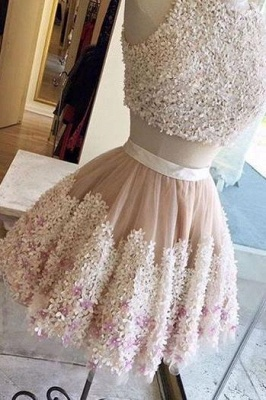 Crystal Lace Appliques Jewel Homecoming Dresses | Two Piece Sleeveless Short Party Dresses_4