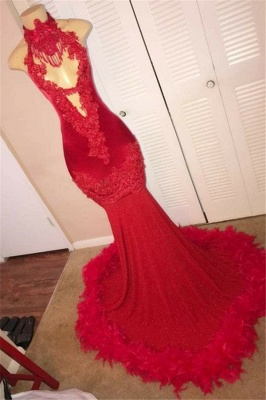 Red Halter Summer Sleeveless Feather Applique Trumpet Evening Gown | Suzhou UK Online Shop_1