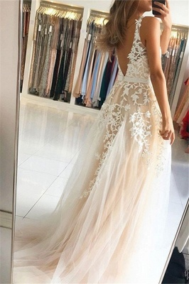 Lace Appliques V-neck Sequins Prom Dresses | Open Back Sleeveless Evening Dresses_2