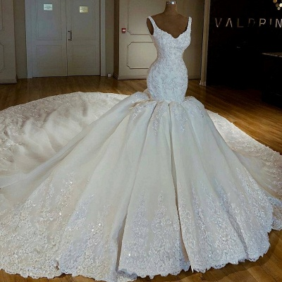 Stylish Mermaid Beading Lace Straps Appliques Wedding Dresses | Bridal Gowns On Sale_2