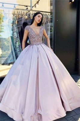 Sexy Low Cut Summer Sleeveless Crystal Beading Ball-Gown Prom Dresses | Suzhou UK Online Shop_3