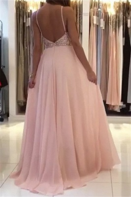 Romactic Pink Halter Applique Prom Dresses Sleeveless Open Back Sexy Evening Dresses With Crystal_2