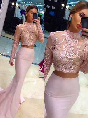 Glamorous High Neck Lace Appliques Long Sleeves Prom Dresses | Sexy Mermaid Pink Lace Two Piece Evening Dresses_2
