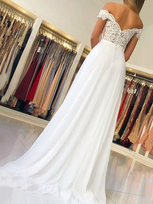 Glamorous Off-the-Shoulder Lace Appliques Prom Dresses | Open Back Sleeveless Evening Dresses with Belt_2