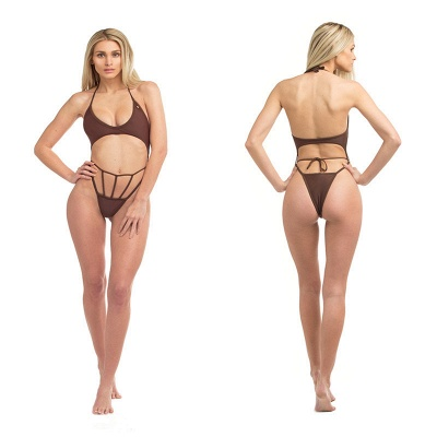 Solid Bandage High Cut Halter One-piece Swimwears_2