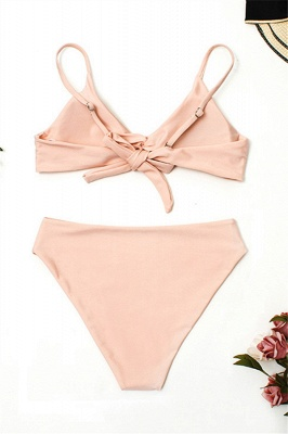 Vintage Nude Lovely Pink Knot Straps Two-piece Bikinis_3