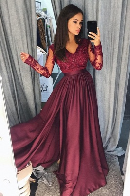 Lace Appliques V-Neck Prom Dresses | Side slit Sleeveless Evening Dresses with Beads_3