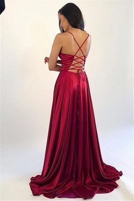 Spaghetti Strap Lace Up Prom Dresses   Side Slit Sleeveless Evening Dresses_3
