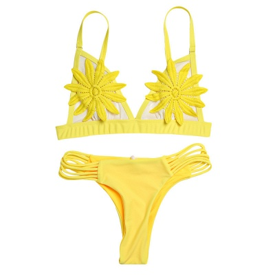 Flower Padded Bra Two-piece Bandage Push Up Bikinis_5