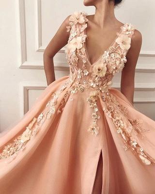 Glamour Straps Sexy Low Cut Flower Appliques Princess A-line Prom Dress | Suzhou UK Online Shop_2