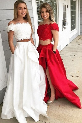 Glamorous Off-the-shoulder Two Piece Ruffles Prom Dresses |Beads Lace Side Slit Evening Dresses with Pocket_2