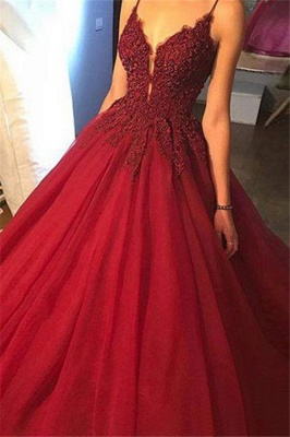 Glamorous Spaghetti Strap Beads Prom Dresses Red Lace Ball Gown Sexy Evening Dresses_3