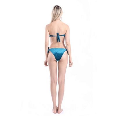 Sweetheart Strapless Bandage Velvet Two-piece Bikini Swimwears_13
