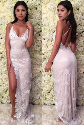 Lace Appliques Halter Prom Dresses | Side Split Lace-Up Sleeveless Evening Dresses_2