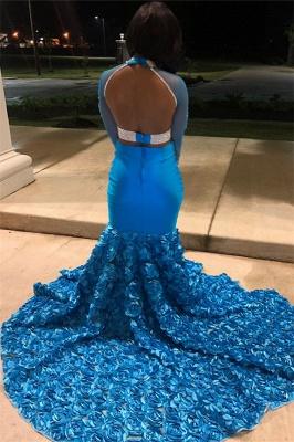 Amazing Blue Sheer Quality Tulle Sleeved Flower Applique Trumpet Prom Dresses | Suzhou UK Online Shop_2