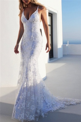 Glamorous Spaghetti-Strap Lace Appliques Prom Dresses   Side slit Lace-Up Sexy Mermaid Sleeveless Evening Dresses_3