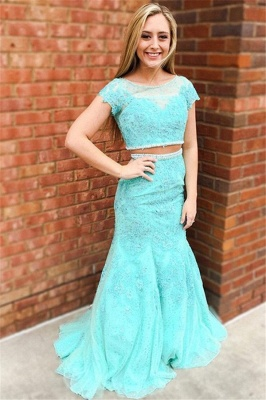 Glamorous Jewel Lace Appliques Two Piece Prom Dresses | Sexy Mermaid Sleeveless Evening Dresses_1