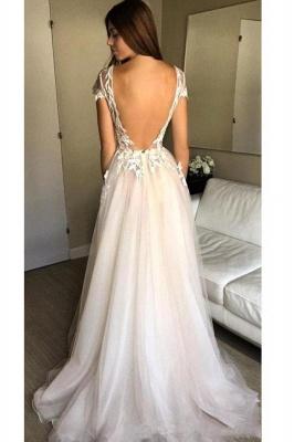 V-Neck Lace Appliques Prom Dresses | Sheer Sleeveless Evening Dresses_2
