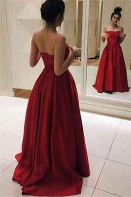 Red Sweetheart Ruffles Prom Dresses Sleeveless Ball Gown Sexy Evening Dresses_1