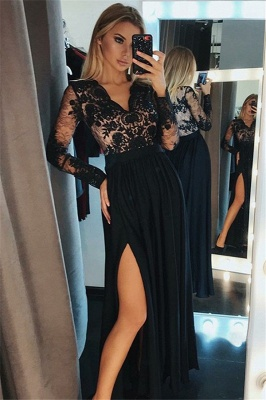 Side-Slit Lace V-Neck Prom DressesBlack Tulle Long Sleeves Sexy Evening Dresses_2