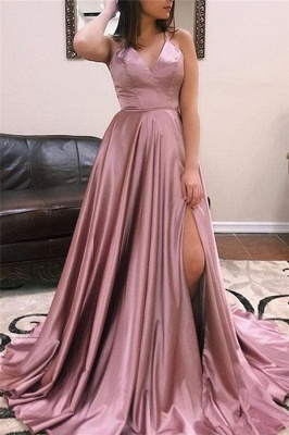 Princess A-line Sexy Low Cut Summer Sleeveless Front Slit Long Prom Dresses | Suzhou UK Online Shop_5
