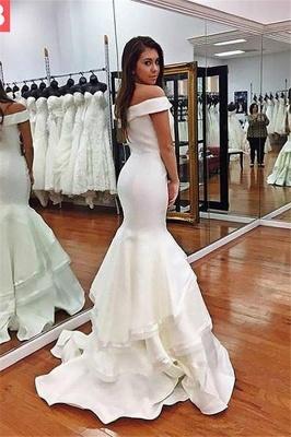 Glamorous Off-the-Shoulder Ruffles Prom Dresses | Sexy Mermaid Sleeveless Evening Dresses_4