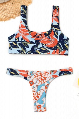 High Waist Lace-up Straps Flower Prints Bikinis_6